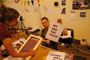 Print workshop with Hot Chocolate youth group, part of Blue Skies Festival